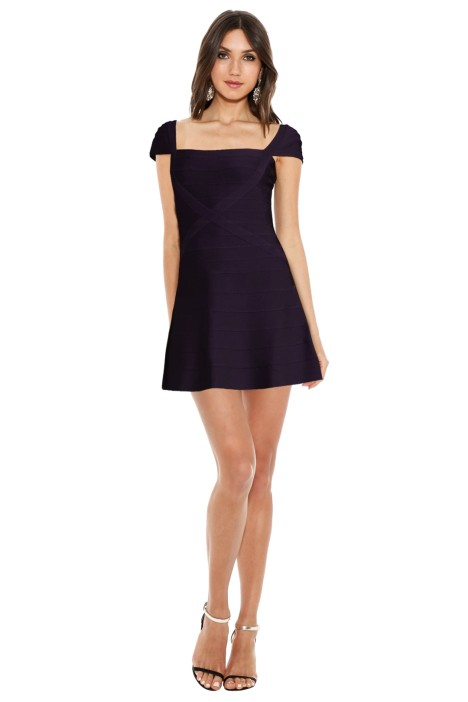 Hervé Léger - Cap Sleeve A Line Bandage Dress - Rich Plum - Front
