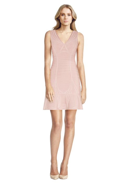 Hervé Léger - Nadja Panelled Bandage Mini Dress - Pink - Front