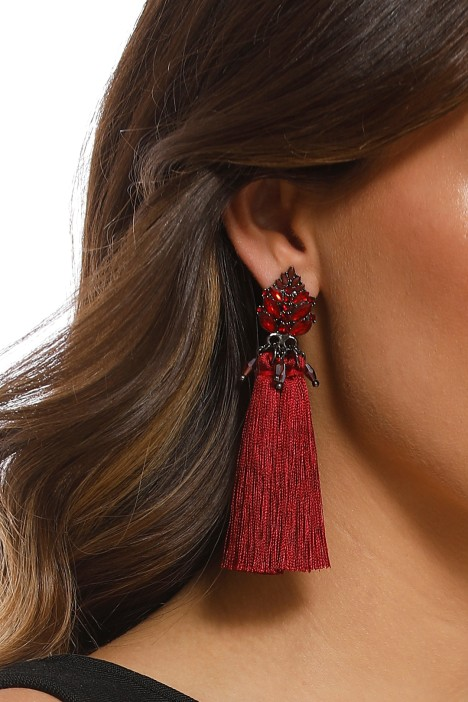 Jewelled Top Tassel Earrings - Burgundy - Product