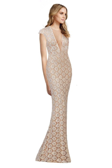 Jovani - Lace Fitted Cap Sleeve Gown - Side