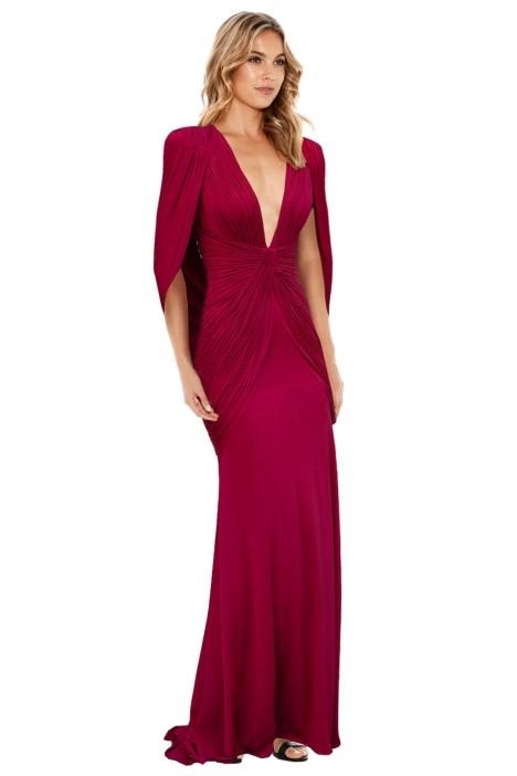 Jovani - Plunging Neckline Red Dress - Red - Front