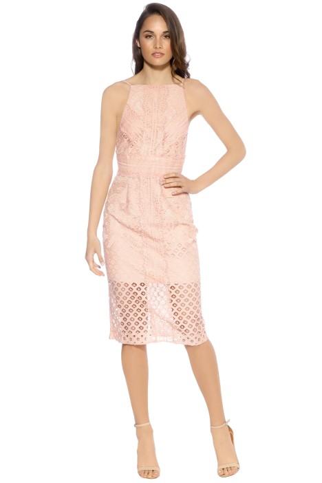 Bridges Lace Midi Dress - Blush - Front