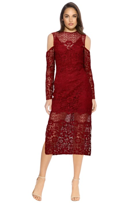 Keepsake - Reach Out LS Midi Dress - Plum - Front - Wine Red