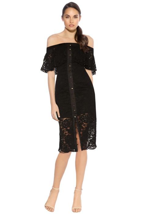 Keepsake - Star Crossed Lace Midi Dress - Black - Front
