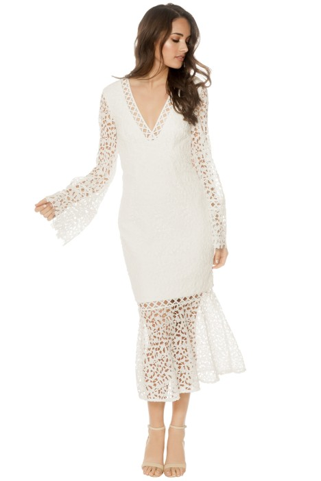 Keepsake - Uplifted LS Midi Dress - White - Front