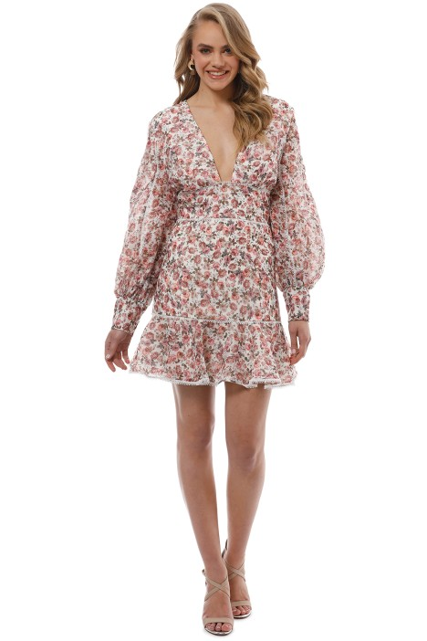 Keepsake the Label - One Love LS Mini Dress - Ivory Floral - Front