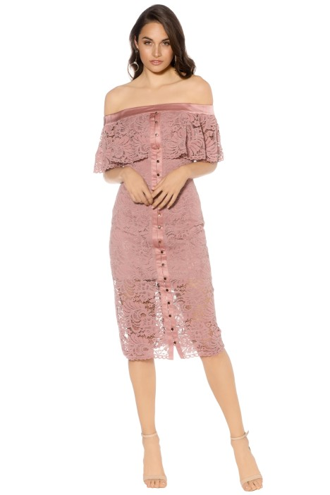 Keepsake - Star Crossed Lace Midi Dress - Mauve - Front