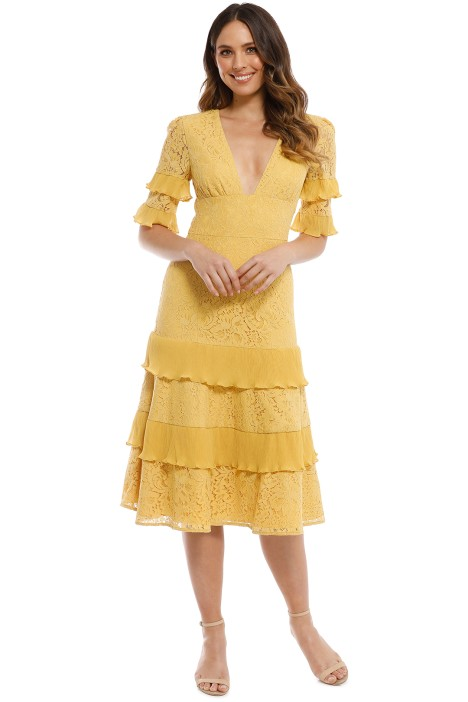 672dc57efe98 Timeless Lace Midi Dress in Golden Yellow by Keepsake the Label for Rent
