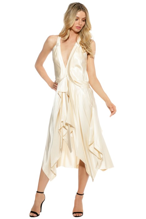 KITX - Fluid Draped Dress - Cream - Front