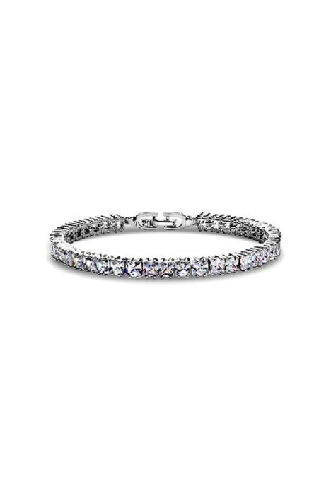 Krystal Couture - Princess Cut Tennis Bracelet - Silver - Front