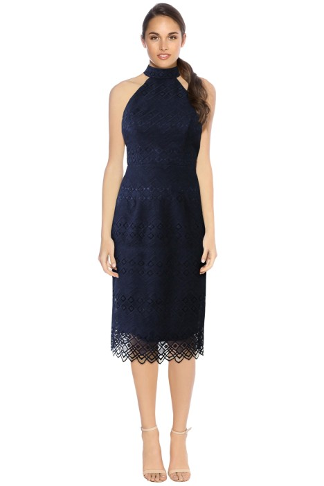 L'amour - Marisol Lace Midi Dress - Navy - Front