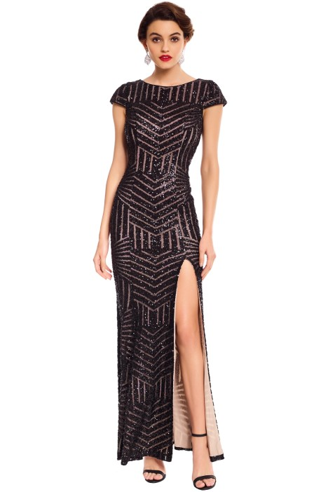 Lamour - Karla Sequin Gown - Black - Front