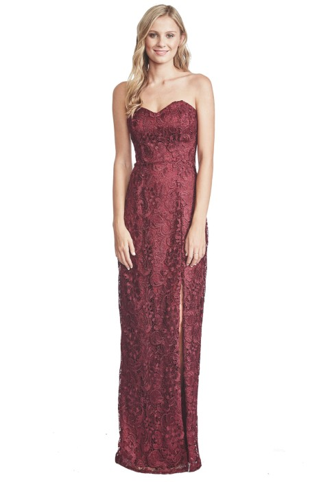 Lana Berry Lace Evening Gown - Front - Red
