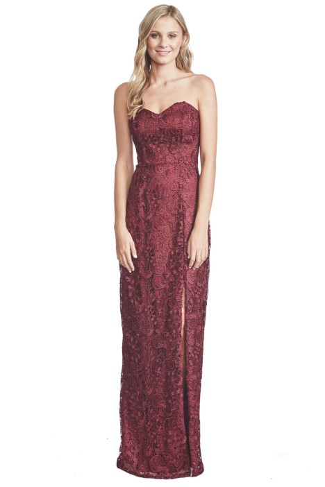 Langhem - Lana Berry Lace Evening Gown - Red - Front