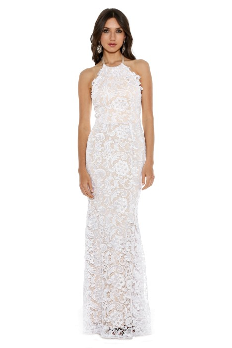Langhem - Leila White and Nude Evening Gown - White - Front