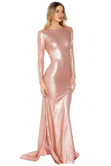 Lilly - Anastasia Sequin LS Gown - Blush - Side