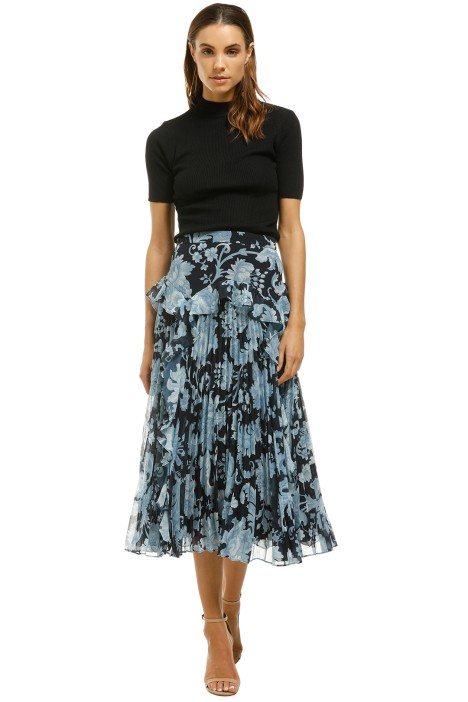 Lover-Florence-Pleat-Midi-Skirt-Navy-Front