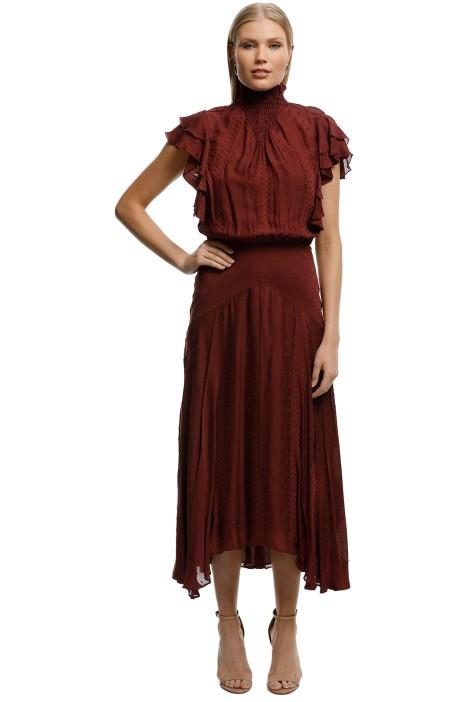 Lover-Juliette-Midi-Dress-Burgundy-Front