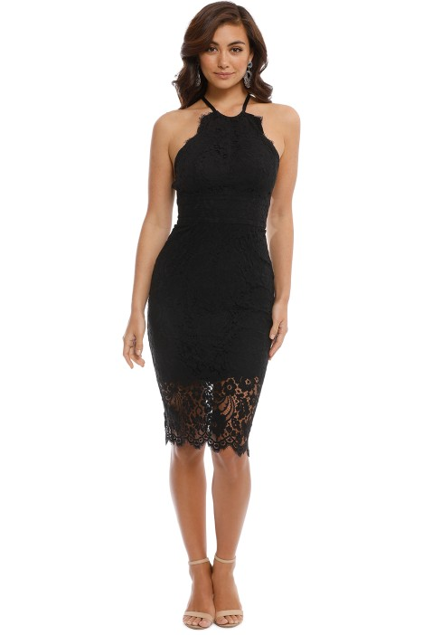 Lover - Black Lulu Halter Dress - Black Lace - Front