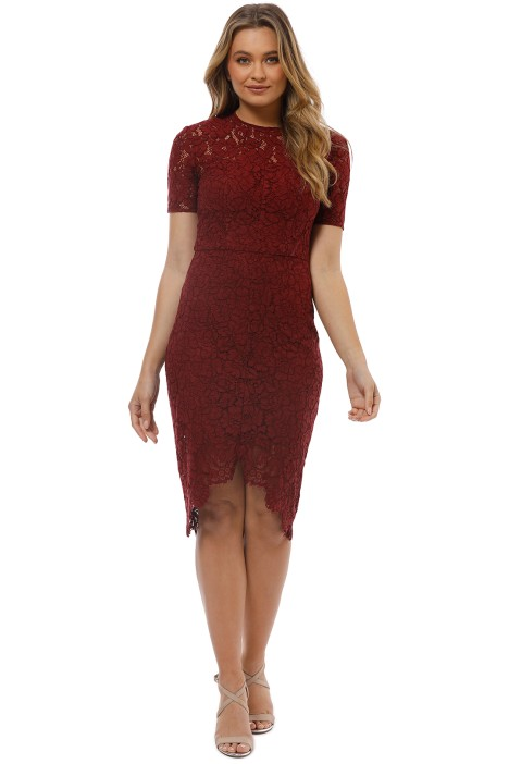 Lover - Ruby Oasis Fitted Dress - Red - Front