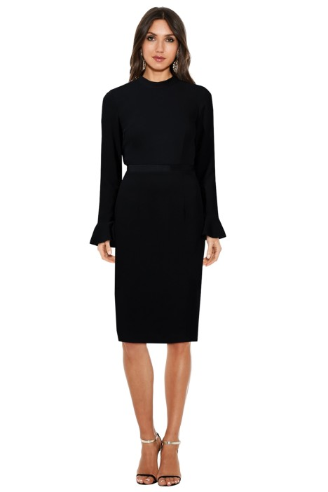 Maison Vivienne - Rekindled Love Ruffle Back Midi Dress - Black - Front