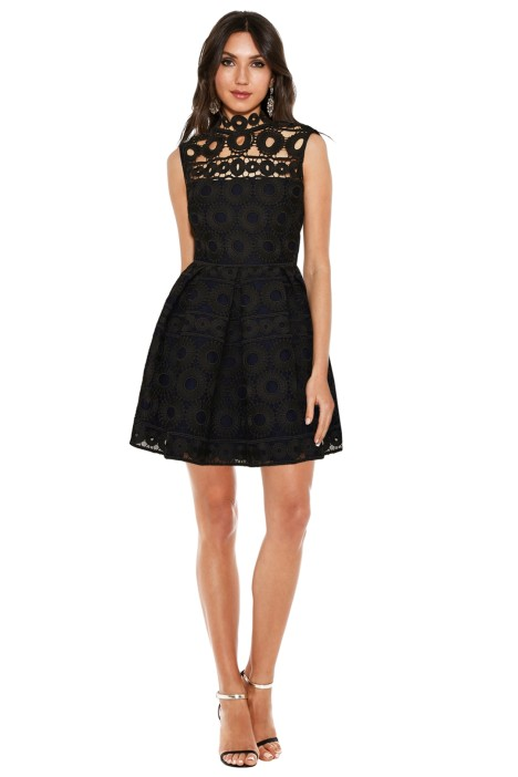 Maje - Rodeo Bonded Lace Guipure Dress - Black - Front