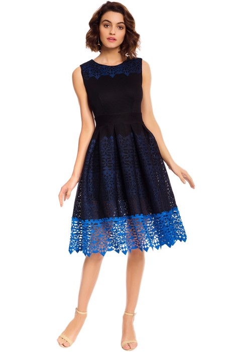 Maje - Russe Honeycomb Knit and Guipure Dress - Navy Blue - Front