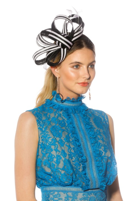Max Alexander - Striped Feather Fascinator - Side