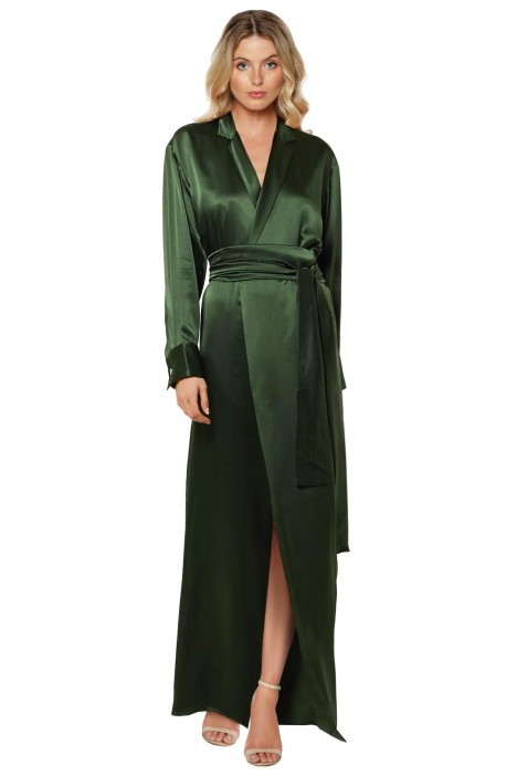 Michael Lo Sordo - Silk Satin Maxi Dress - Green - Front