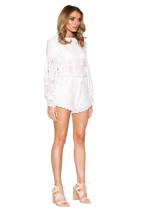 0151bdcc413 Lattice Lace Playsuit in Ivory by Ministry of Style for Rent