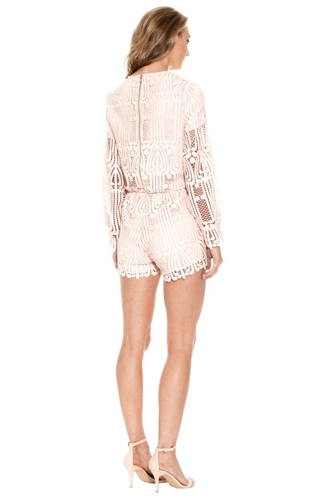 fa4f2209a8f Lattice Lace Playsuit in Pink Sand by Ministry of Style for Hire