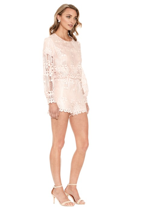 29f92c29d5 Lattice Lace Playsuit in Pink Sand by Ministry of Style for Hire