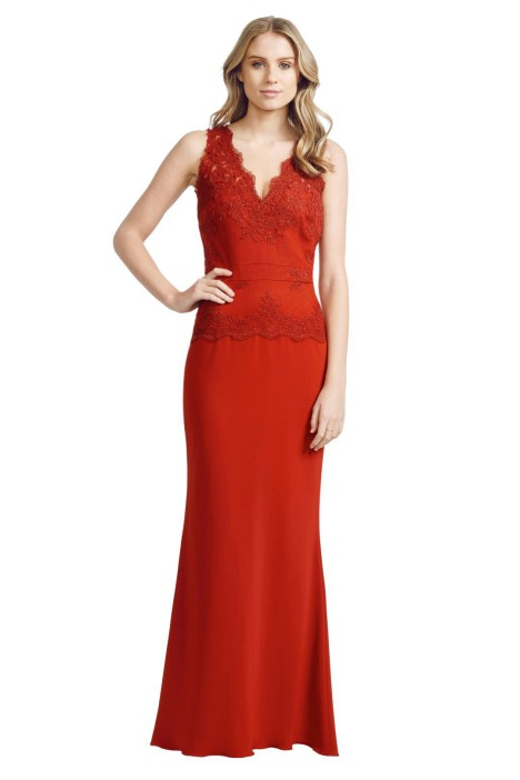Badgley Mischka - Lace Open Gown - Front - Red.jpg