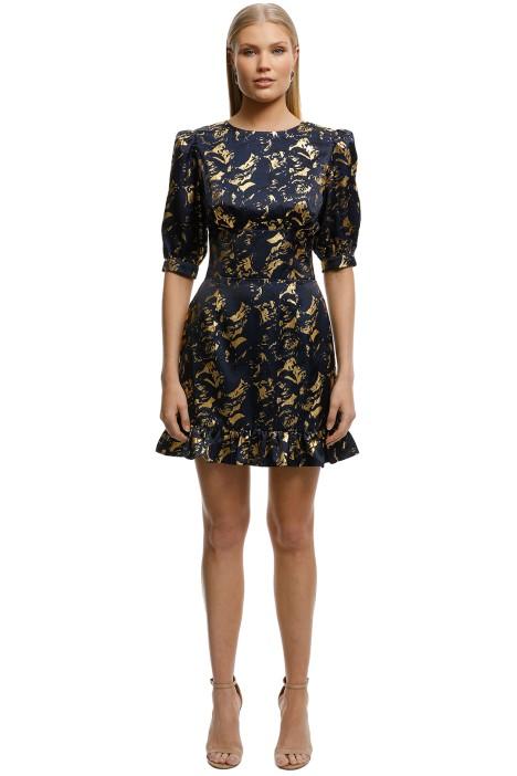 Misha-Collection- Havannah-Printed-Dress-Black-Gold-Front