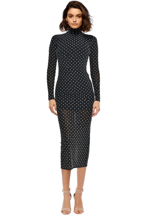 Misha Collection - Frances Beaded Mesh Dress - Black Dot - Front