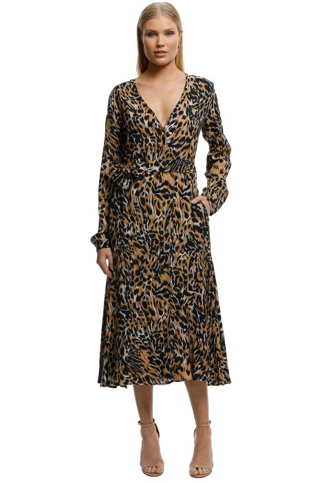 MNG-Leopard-Midi-Dress-Brown-Front