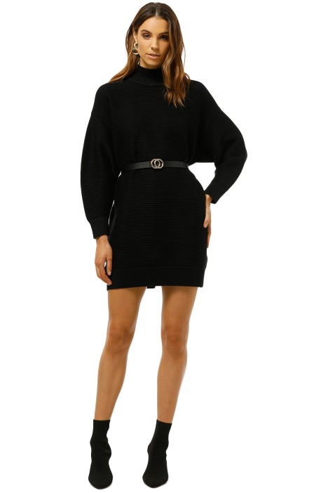MNG-Long-Knit-Sweater-Black-Front