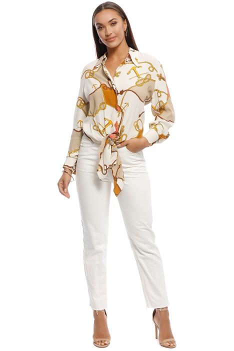 MNG - Naomi Chain print shirt - Orange - Front