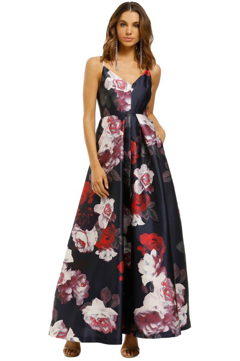 Montique-Rosetta-Floral-Gown-Navy-Front