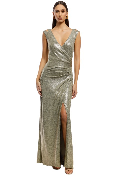 Montique - Milani Metallic Gown - Gold - Front