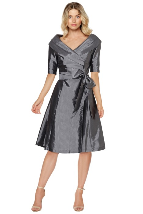 Montique - Veronica Taffeta Dress - Silver - Front
