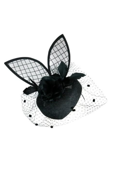 Morgan and Taylor - Bunny Fascinator - Black - Side