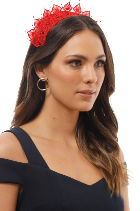 Elizabella Fascinator in Red by Morgan and Taylor for Hire b9be0a661b2