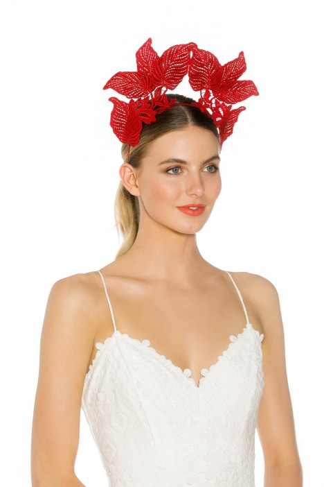 Morgan and Taylor - Florence Fascinator - Red - Side Model