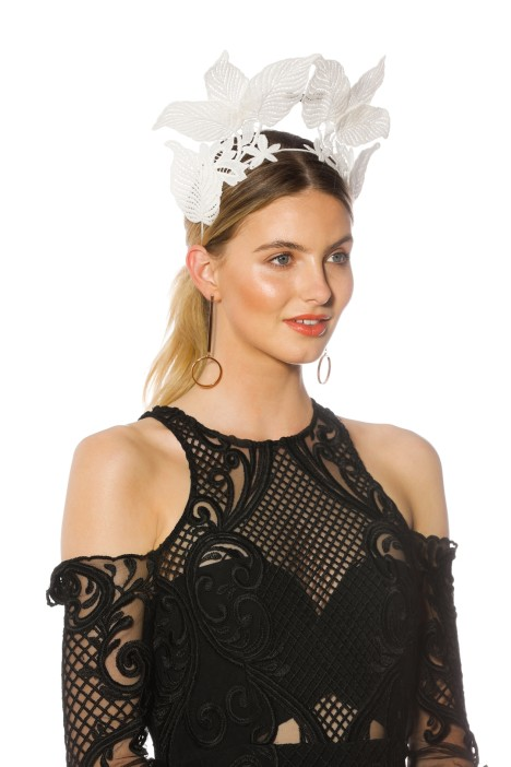 Morgan and Taylor - Florence Fascinator - White - Side