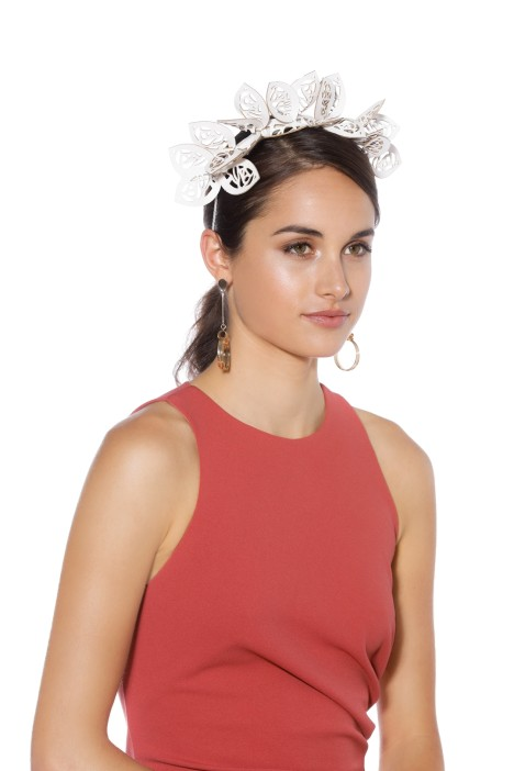 Morgan and Taylor - Jasmine Fascinator - White - Front