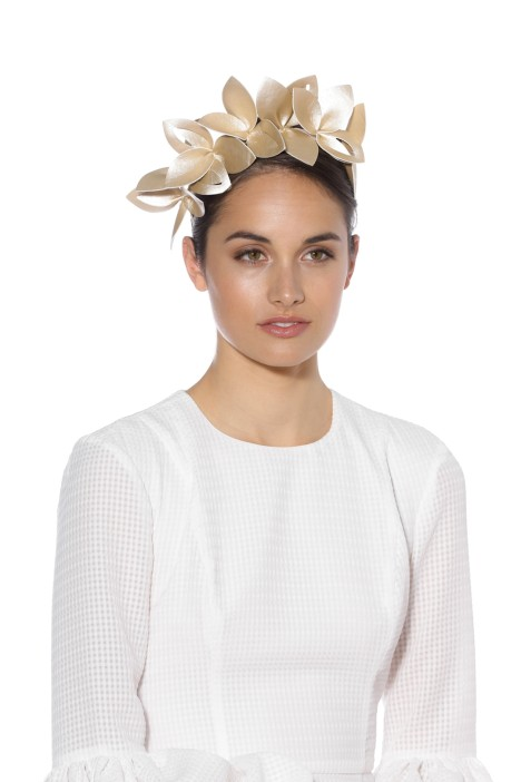 Morgan and Taylor - Lavina Fascinator - Light Gold - Model