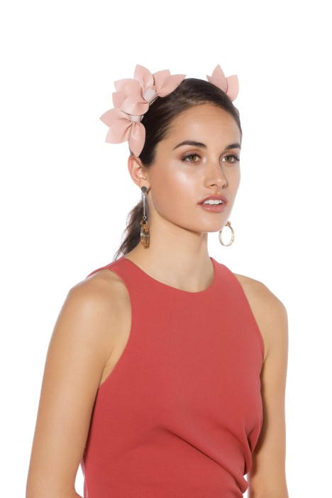 Morgan & Taylor - Sheridan Fascinator - Pink - Side - Model