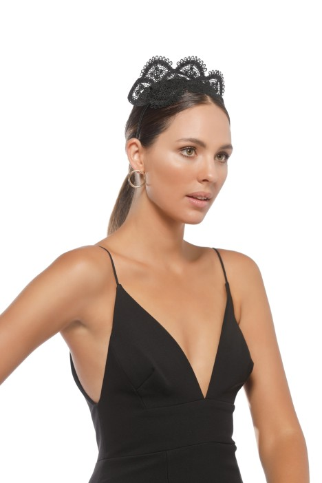 Morgan and Taylor - Verona Fascinator - Black - Side Model