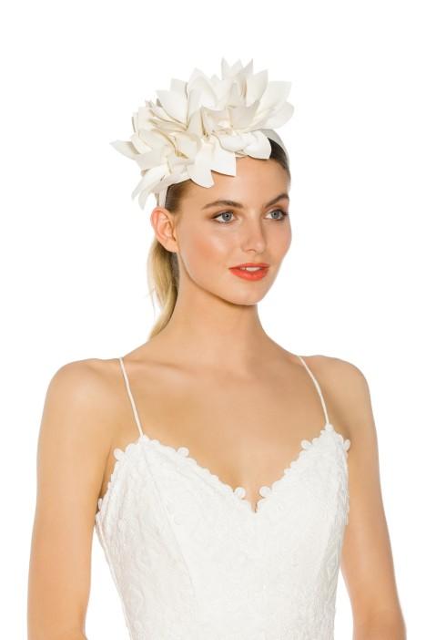 Morgan & Taylor - Courtney Fascinator - White - Side Model